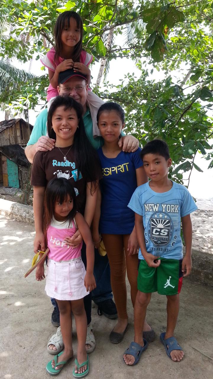 Children showing me around