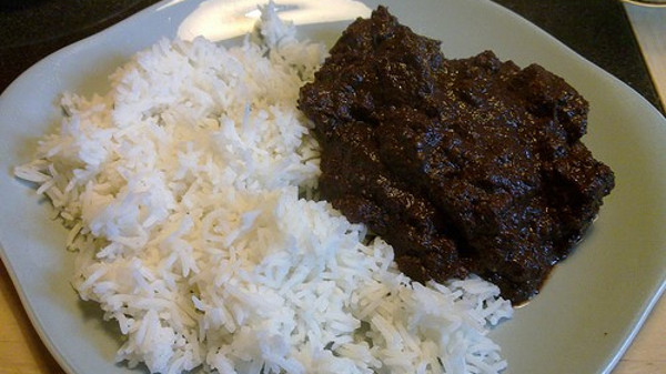 This is an appropriate mix of dinuguan and rice